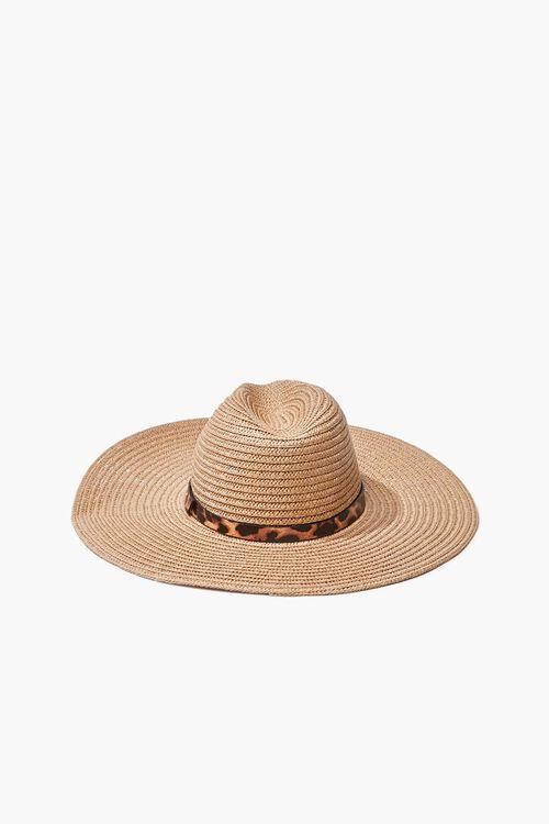 Faux Straw Leopard Print-Trim Hat, image 2