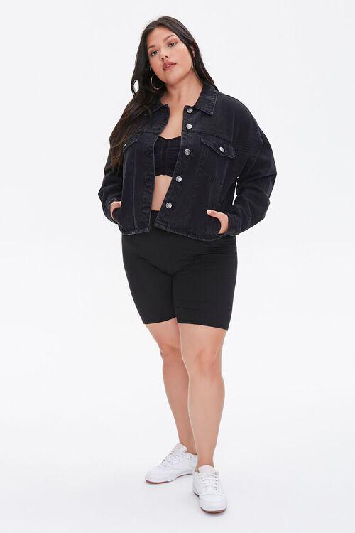 Plus Size Cropped Denim Jacket, image 4