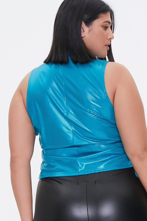 Plus Size Metallic Lace-Up Crop Top, image 3
