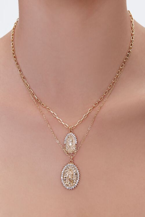 GOLD Religious Pendants Layered Necklace, image 1