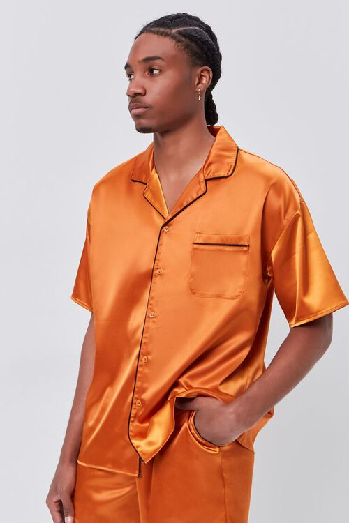 Satin Piped-Trim Shirt, image 5