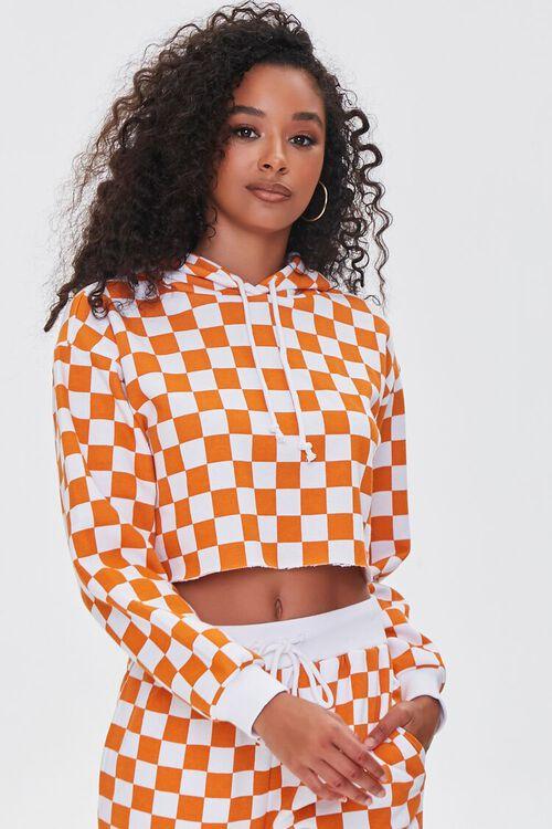 ORANGE/WHITE Checkered Cropped Hoodie, image 1