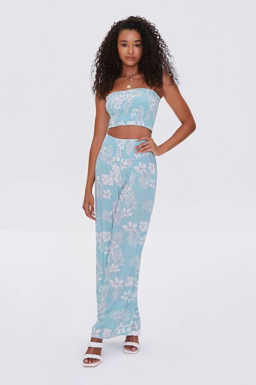 Tropical Floral Print Pants, image 1