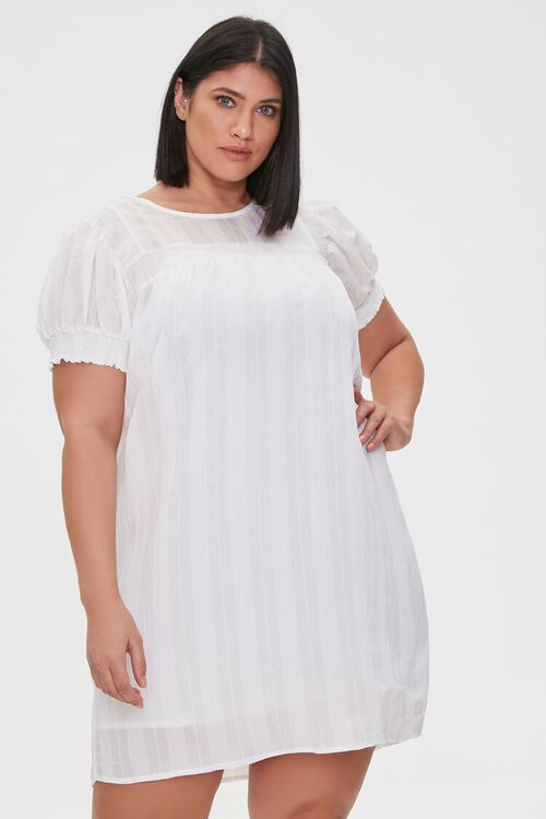 WHITE Plus Size Striped Mini Dress, image 2