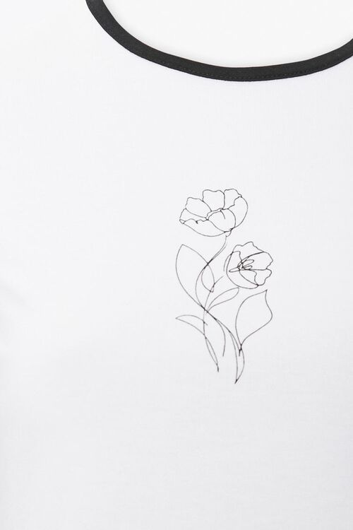 Floral Line Art Graphic Tee, image 3
