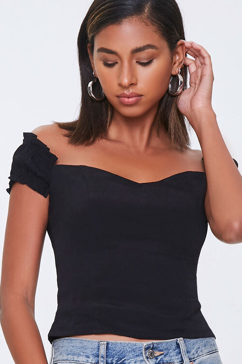 Off-the-Shoulder Ruffle-Trim Top, image 1
