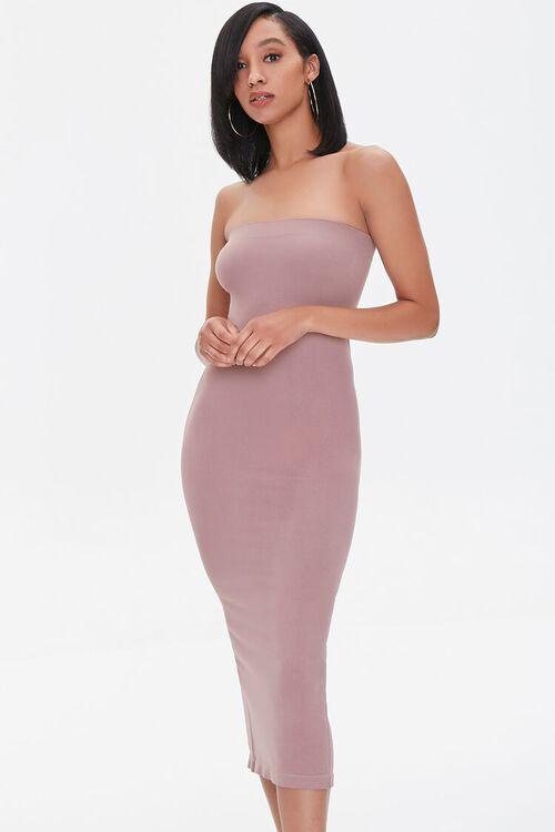 DUSTY LAVENDER Seamless Strapless Bodycon Midi Dress, image 1