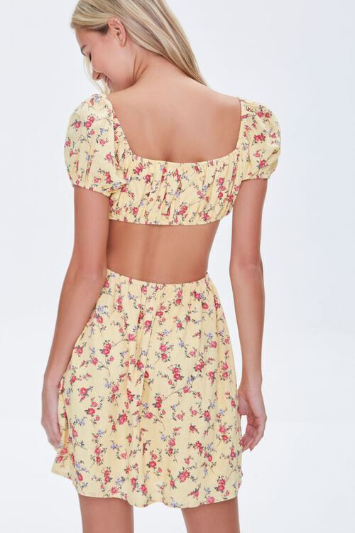 YELLOW/MULTI Floral Cutout Mini Dress, image 3