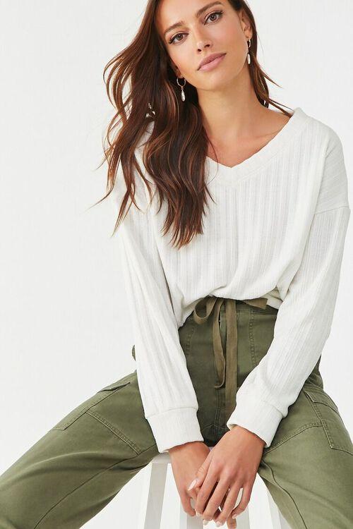 Ribbed V-Neck Sweater, image 1