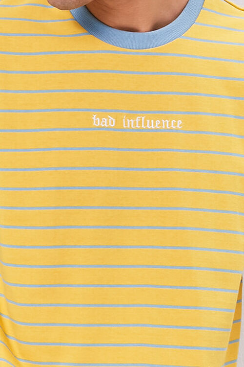 YELLOW/BLUE Bad Influence Embroidered Graphic Striped Tee, image 5