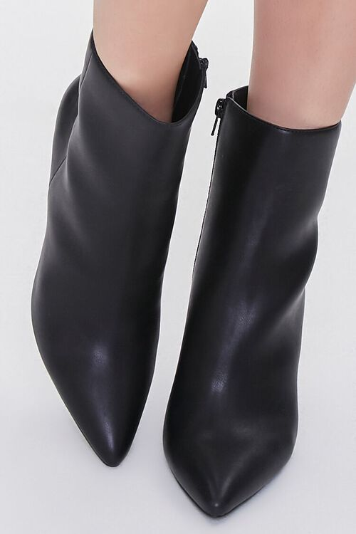 BLACK Faux Leather Stiletto Booties, image 4