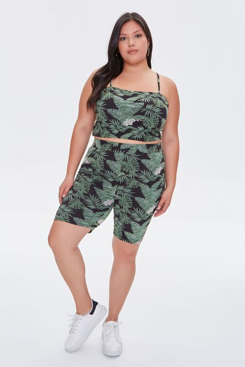 BLACK/MULTI Plus Size Tropical Leaf Biker Shorts, image 5