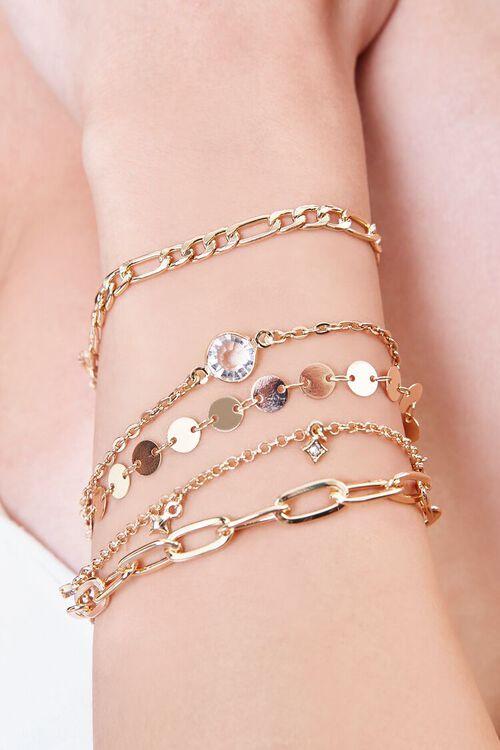 GOLD Faux Gem Charm Chain Bracelet Set, image 1