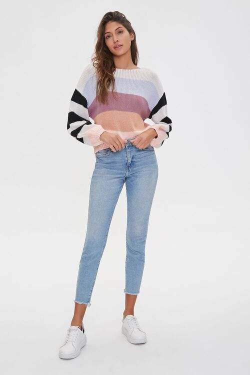 Striped-Sleeve Colorblock Sweater, image 4
