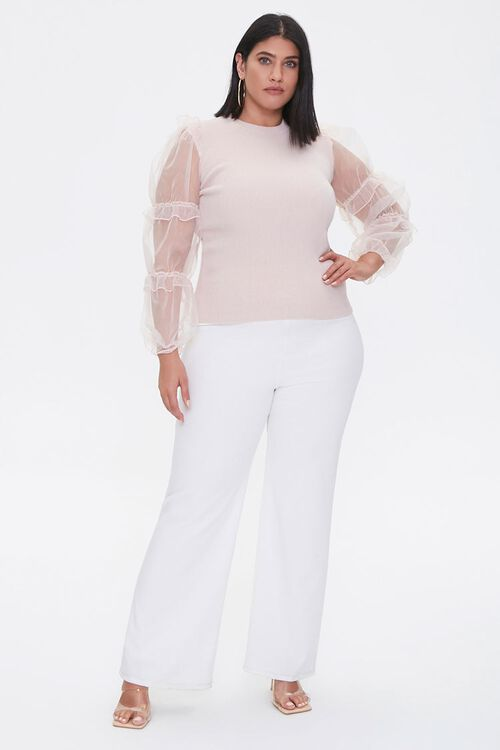 Plus Size Sheer-Sleeve Sweater, image 4