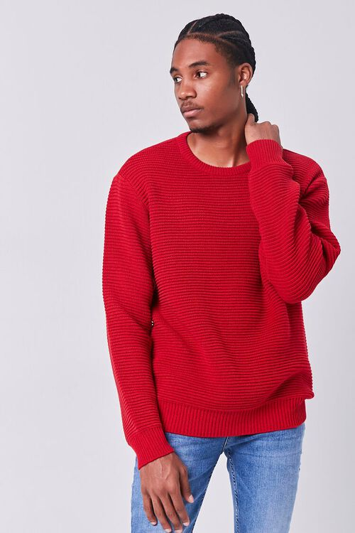 RED Ribbed Crew Neck Sweater, image 1
