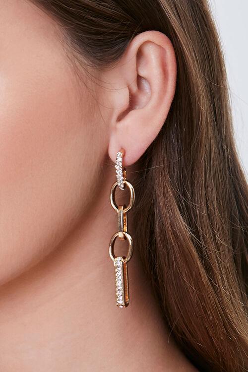 Rhinestone Oval Drop Earrings, image 1
