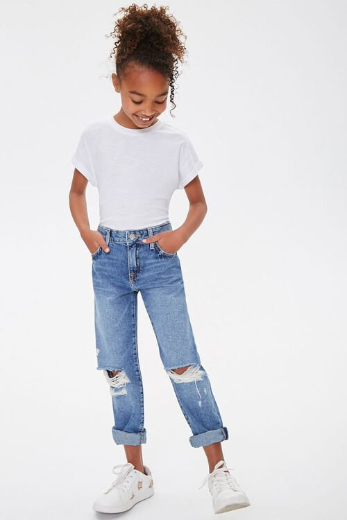 Girls Distressed Mom Jeans (Kids), image 5