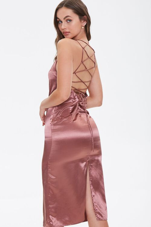 Satin Lace-Up Slip Dress, image 1