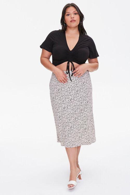 Plus Size Spotted Print Midi Skirt, image 5
