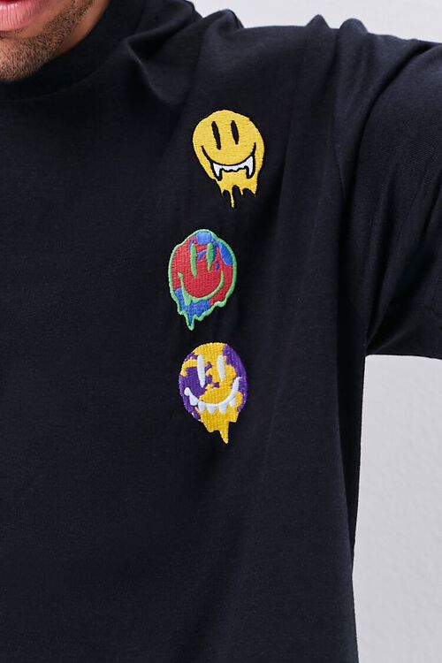 BLACK/MULTI Smiling Faces Embroidered Graphic Tee, image 6