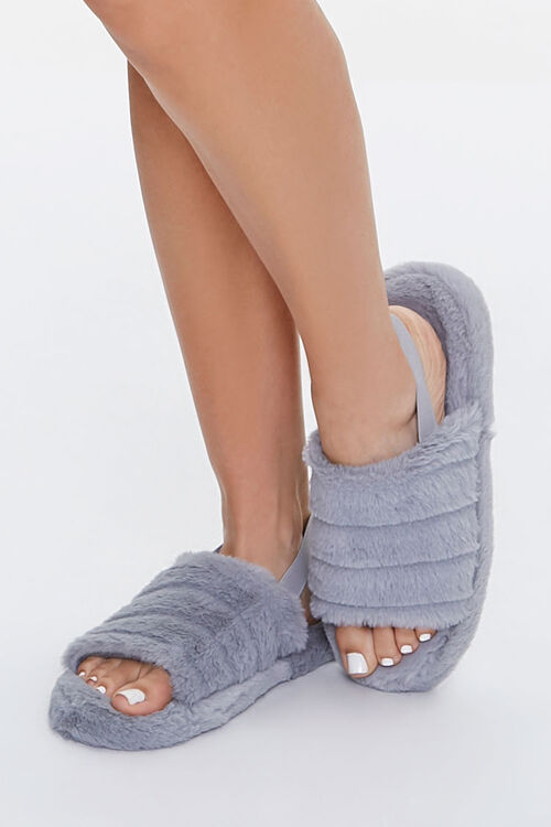 Faux Fur Open-Toe Indoor Slippers, image 1