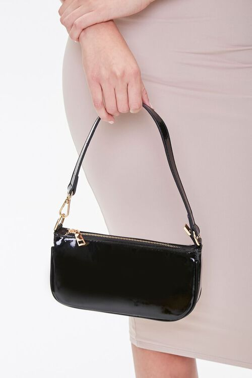 Faux Patent Leather Shoulder Bag, image 2