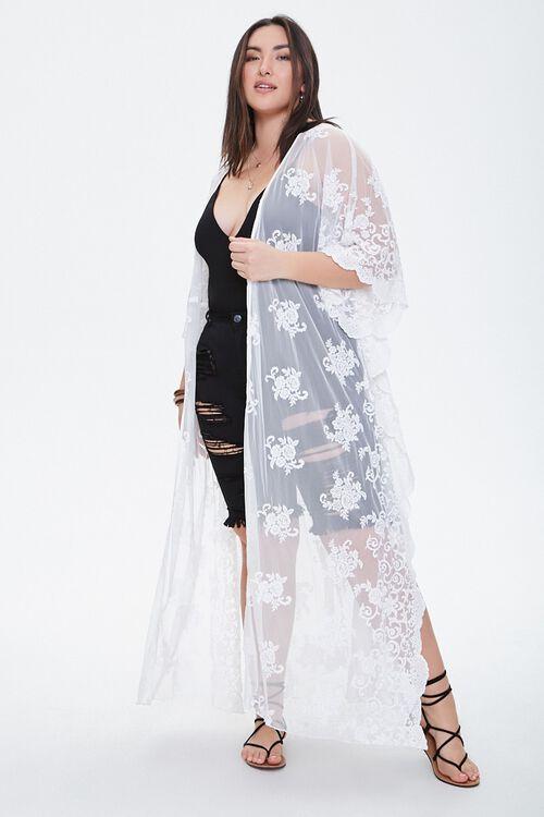 Plus Size Floral Mesh Cardigan, image 1