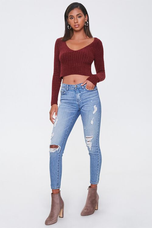 Ribbed Fuzzy Knit Sweater, image 4