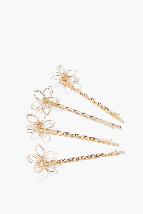 GOLD Floral Wire Bobby Pins, image 1
