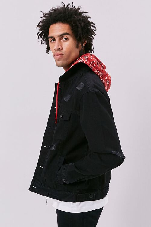 Bandana Print Hooded Denim Jacket, image 2