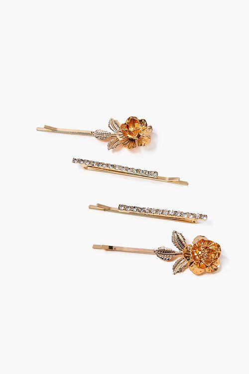 Rhinestone Rose Charm Bobby Pin Set, image 1