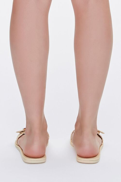 Buckled Straw Flat Sandals, image 3