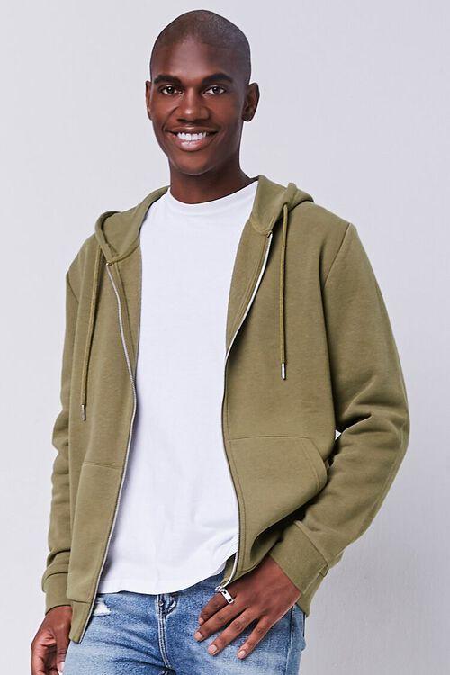 OLIVE Fleece Zip-Up Hoodie, image 1