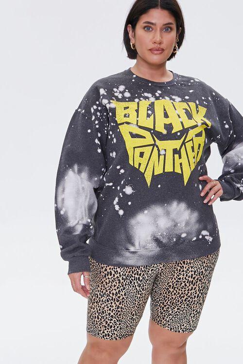 TAN/BLACK Plus Size Leopard Print Biker Shorts, image 1