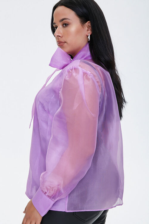 Plus Size Organza Pussycat Bow Top, image 2