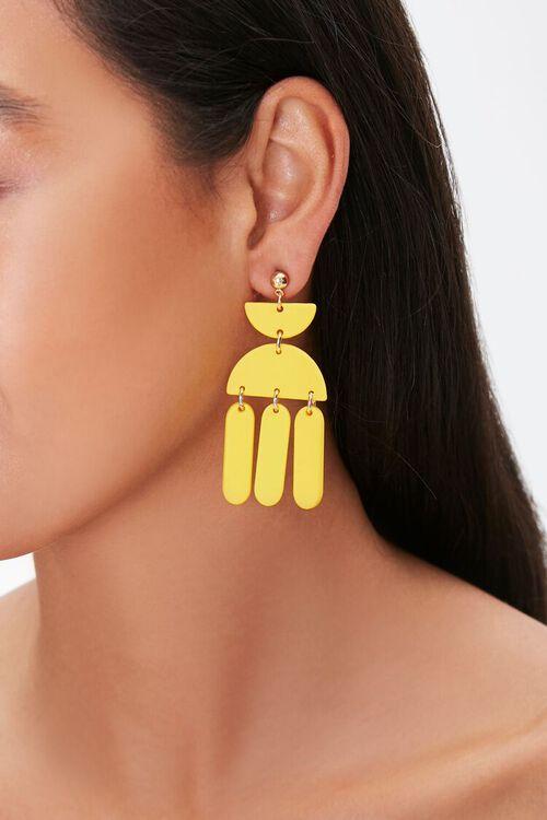 YELLOW Geo Pendant Drop Earrings, image 1