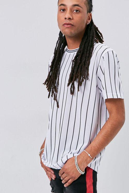 Vertical Striped Print Jersey Mesh Tee, image 1