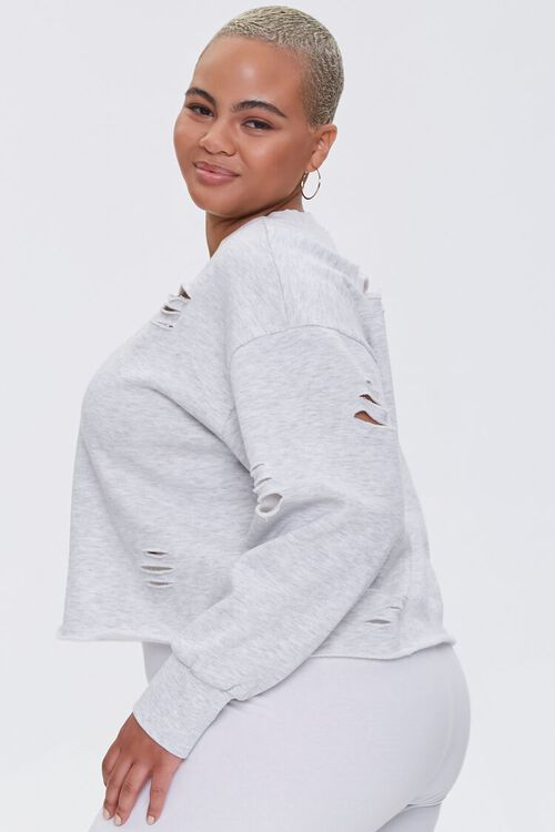 Plus Size Heathered Distressed Pullover, image 3