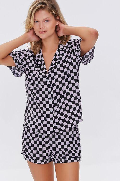 BLACK/VIOLET Checkered Print Pajama Set, image 1