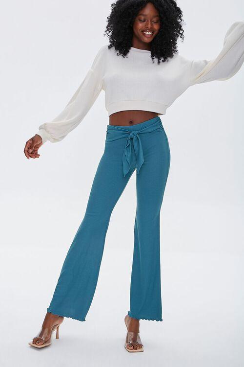 Tie-Waist Flare Pants, image 1