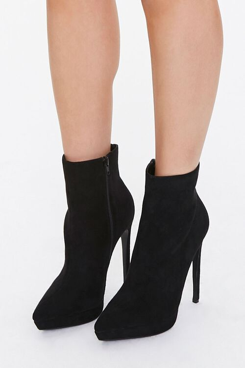 BLACK Faux Suede Stiletto Booties, image 1