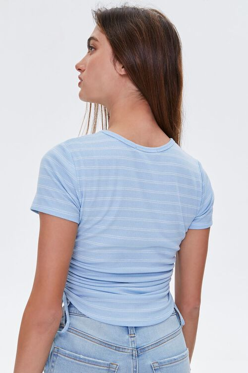 Striped Ruched Drawstring Tee, image 3