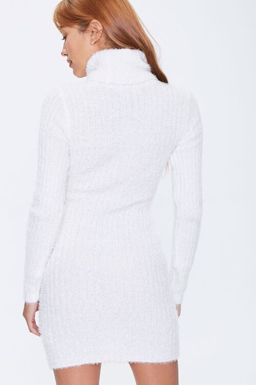 Fuzzy Knit Turtleneck Sweater Dress, image 4