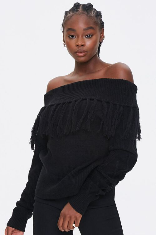 Tassel Off-the-Shoulder Sweater, image 1