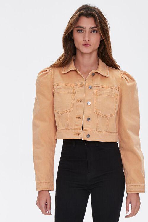 TAN Puff Sleeve Denim Jacket, image 1