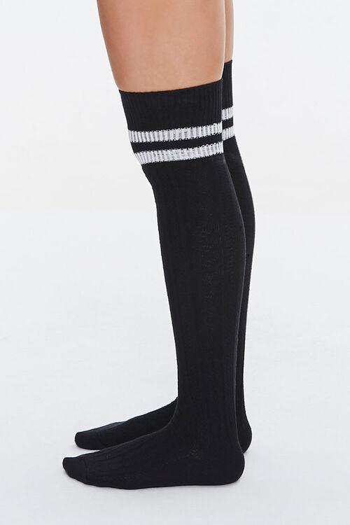 BLACK/WHITE Over-the-Knee Striped Socks, image 2