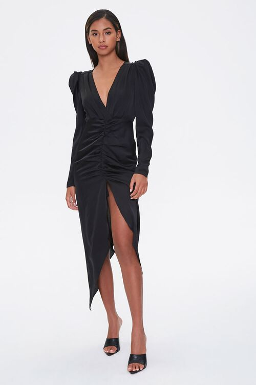 Ruched Puff-Sleeve Midi Dress, image 1