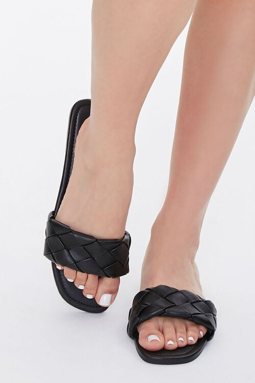 BLACK Basketwoven Faux Leather Sandals, image 4
