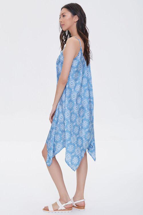 BLUE/CREAM Ornate Print Handkerchief Dress, image 2